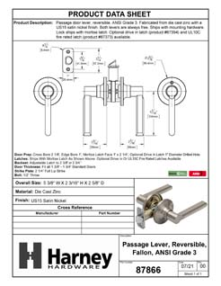 Product Data Specification Sheet Of A Door Lever Set Closet / Hall / Passage Function Contemporary Style Fallon Collection - Satin Nickel Finish - Product Number 87866