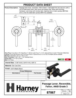 Product Data Specification Sheet Of A Door Lever Set Closet / Hall / Passage Function Contemporary Style Fallon Collection - Matte Black Finish - Product Number 87867