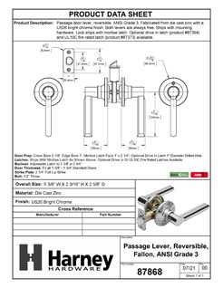 Product Data Specification Sheet Of A Door Lever Set Closet / Hall / Passage Function Contemporary Style Fallon Collection - Chrome Finish - Product Number 87868