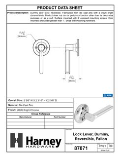 Product Data Specification Sheet Of A Door Lever Inactive / Dummy Function Contemporary Style Fallon Collection - Chrome Finish - Product Number 87871