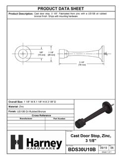 Product Data Specification Sheet Of A Door Stop, Solid Brass, 3 1/8 In. Projection - Oil Rubbed Bronze Finish - Product Number BDS30U10B