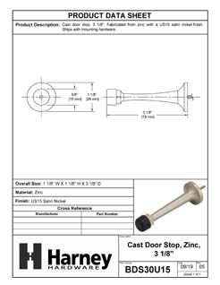 Product Data Specification Sheet Of A Door Stop, 3 1/8 In. Projection - Satin Nickel Finish - Product Number BDS30U15