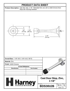 Product Data Specification Sheet Of A Door Stop, 3 1/8 In. Projection - Chrome Finish - Product Number BDS30U26