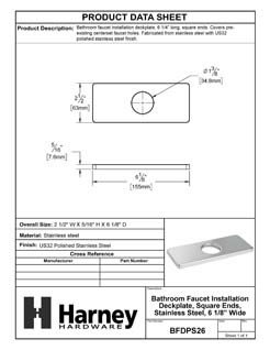 Product Data Specification Sheet Of A Bathroom Faucet Installation Deckplate, Square Ends, Stainless Steel, 6 1/8 In. Wide - Polished Stainless Steel Finish - Product Number BFDPS26