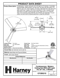Product Data Specification Sheet Of A Contemporary / Modern Ceiling Fan With LED Light Kit, 52 In. Dia., 3 Blades, Silver / Dark Walnut - Satin Nickel Finish - Product Number CF3B5215