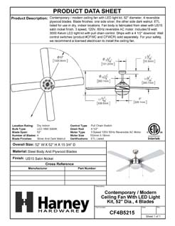 Product Data Specification Sheet Of A Contemporary / Modern Ceiling Fan With LED Light Kit, 52 In. Dia., 4 Blades, Silver / Dark Walnut - Satin Nickel Finish - Product Number CF4B5215