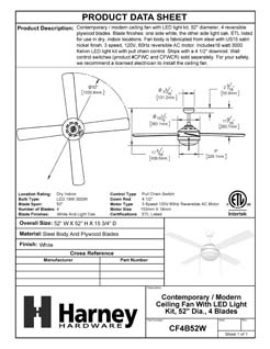 Product Data Specification Sheet Of A Contemporary / Modern Ceiling Fan With LED Light Kit, 52 In. Dia., 4 Blades, White / Light Oak - White Finish - Product Number CF4B52W