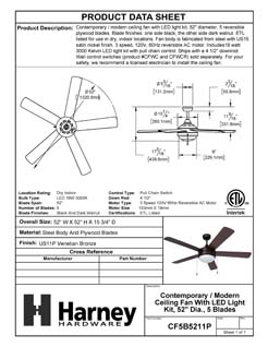 Product Data Specification Sheet Of A Contemporary / Modern Ceiling Fan With LED Light Kit, 52 In. Dia., 5 Blades Black / Dark Walnut - Venetian Bronze Finish - Product Number CF5B5211P