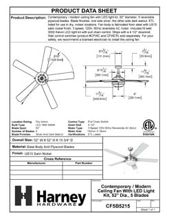 Product Data Specification Sheet Of A Contemporary / Modern Ceiling Fan With LED Light Kit, 52 In. Dia., 5 Blades, Silver / Dark Walnut - Satin Nickel Finish - Product Number CF5B5215