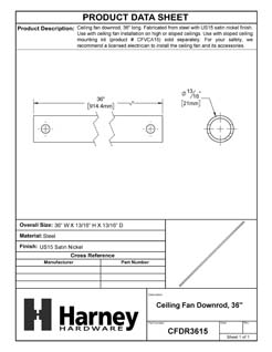 Product Data Specification Sheet Of A Ceiling Fan Downrod, 36 In. - Satin Nickel Finish - Product Number CFDR3615
