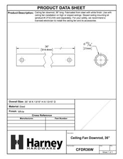 Product Data Specification Sheet Of A Ceiling Fan Downrod, 36 In. - White Finish - Product Number CFDR36W