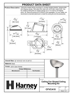 Product Data Specification Sheet Of A Ceiling Fan Sloped Ceiling Mounting Kit - Satin Nickel Finish - Product Number CFVCA15