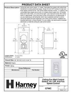 Product Data Specification Sheet Of A Ceiling Fan Wall Control Switch, On / Off, Light Dimmer And Fan Speed Control - White Finish - Product Number CFWC