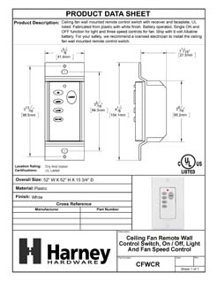Product Data Specification Sheet Of A Ceiling Fan Remote Wall Control Switch, On / Off, Light Dimmer And Fan Speed Control - White Finish - Product Number CFWCR