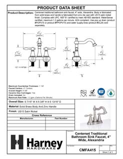 Product Data Specification Sheet Of A Center Set Transitional Bathroom Sink Faucet, 4 In. Wide, Alexandria - Satin Nickel Finish - Product Number CMFA415