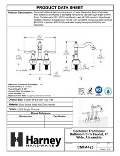 Product Data Specification Sheet Of A Center Set Transitional Bathroom Sink Faucet, 4 In. Wide, Alexandria - Chrome Finish - Product Number CMFA426
