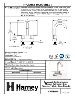 Product Data Specification Sheet Of A Center Set Contemporary / Modern Bathroom Sink Faucet, 4 In. Wide, Boca Grande - Satin Nickel Finish - Product Number CMFB415