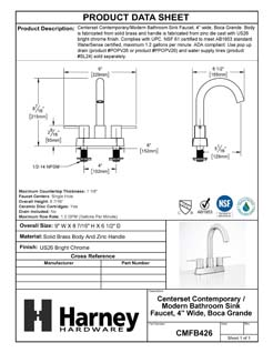 Product Data Specification Sheet Of A Center Set Contemporary / Modern Bathroom Sink Faucet, 4 In. Wide, Boca Grande - Chrome Finish - Product Number CMFB426