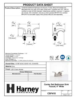 Product Data Specification Sheet Of A Center Set Bathroom Sink Faucet, 4 In. Wide - Satin Nickel Finish - Product Number CSF415