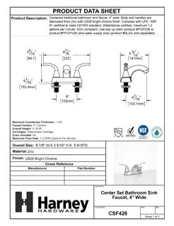 Product Data Specification Sheet Of A Center Set Bathroom Sink Faucet, 4 In. Wide - Chrome Finish - Product Number CSF426
