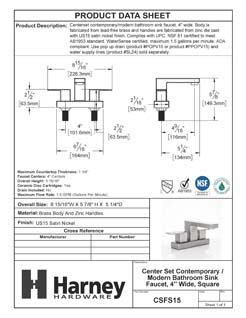 Product Data Specification Sheet Of A Center Set Contemporary / Modern Bathroom Sink Faucet, 4 In. Wide - Satin Nickel Finish - Product Number CSFS15