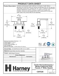 Product Data Specification Sheet Of A Center Set Contemporary / Modern Bathroom Sink Faucet, 4 In. Wide - Chrome Finish - Product Number CSFS26