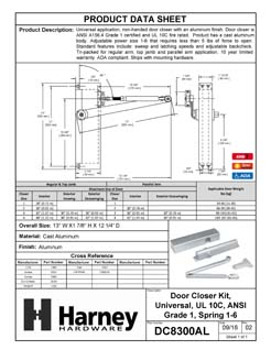 Product Data Specification Sheet Of A Commercial Door Closer, UL Fire Rated, ANSI 1, ADA Compliant, SP 1-6 - Aluminum Finish - Product Number DC8300AL