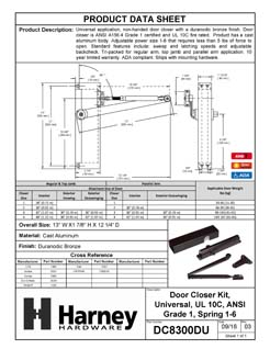 Product Data Specification Sheet Of A Commercial Door Closer, UL Fire Rated, ANSI 1, ADA Compliant, SP 1-6 - Bronze Finish - Product Number DC8300DU