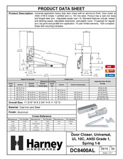 Product Data Specification Sheet Of A Commercial Door Closer, UL Fire Rated, ANSI 1, ADA Compliant, SP 1-6 - Aluminum Finish - Product Number DC8400AL