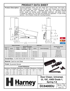Product Data Specification Sheet Of A Commercial Door Closer, UL Fire Rated, ANSI 1, ADA Compliant, SP 1-6 - Bronze Finish - Product Number DC8400DU