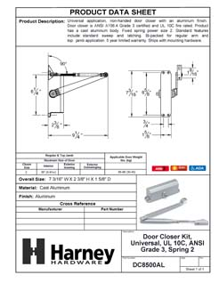 Product Data Specification Sheet Of A Residential Door Closer, UL Fire Rated, ANSI 3, SP 2 - Aluminum Finish - Product Number DC8500AL