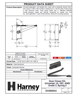 Product Data Specification Sheet Of A Residential Door Closer, UL Fire Rated, ANSI 3, SP 2 - Bronze Finish - Product Number DC8500DU