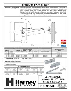 Product Data Specification Sheet Of A Commercial Door Closer, UL Fire Rated, ANSI 1, ADA Compliant, SP 1-4 - Aluminum Finish - Product Number DC8900AL