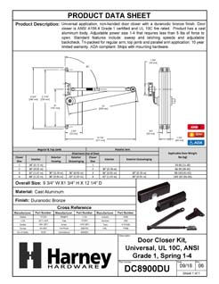 Product Data Specification Sheet Of A Commercial Door Closer, UL Fire Rated, ANSI 1, ADA Compliant, SP 1-4 - Bronze Finish - Product Number DC8900DU