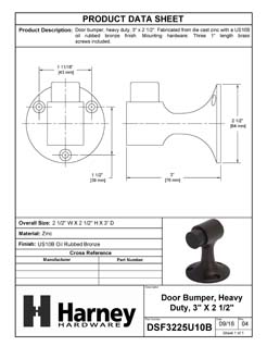 Product Data Specification Sheet Of A Floor Stop, Solid Brass, 3 In. High - Oil Rubbed Bronze Finish - Product Number DSF3225U10B