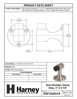 Product Data Specification Sheet Of A Floor Stop, 3 In. High - Satin Nickel Finish - Product Number DSF3225U15