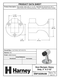 Product Data Specification Sheet Of A Floor Stop, 3 In. High - Chrome Finish - Product Number DSF3225U26