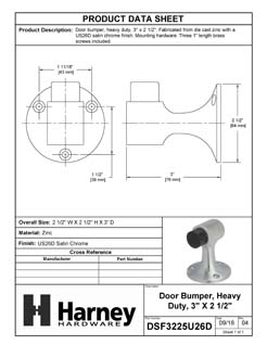 Product Data Specification Sheet Of A Floor Stop, 3 In. High - Satin Chrome Finish - Product Number DSF3225U26D