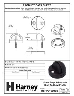 Product Data Specification Sheet Of A Dome Stop, Adjustable High And Low Profile - Oil Rubbed Bronze Finish - Product Number DSHP916U10B