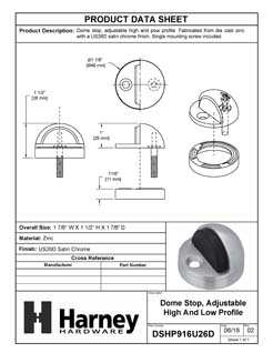 Product Data Specification Sheet Of A Dome Stop, Adjustable High And Low Profile - Satin Chrome Finish - Product Number DSHP916U26D