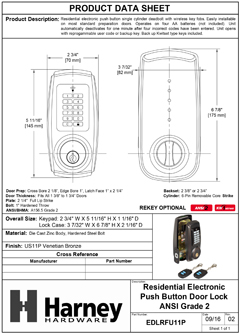 Product Data Specification Sheet Of A Electronic Keylesss Deadbolt W/ Remote RF Key Fob - Venetian Bronze Finish - Product Number EDLRFU11P