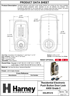 Product Data Specification Sheet Of A Electronic Keylesss Deadbolt W/ Remote RF Key Fob - Satin Nickel Finish - Product Number EDLRFU15