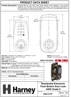 Product Data Specification Sheet Of A Electronic Keyless Deadbolt - Venetian Bronze Finish - Product Number EDLU11P