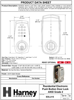 Product Data Specification Sheet Of A Electronic Keyless Deadbolt - Satin Nickel Finish - Product Number EDLU15