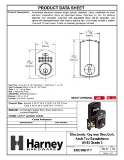 Product Data Specification Sheet Of A Electronic Keyless Deadbolt, Arch Top Escutcheon - Venetian Bronze Finish - Product Number EKD30U11P