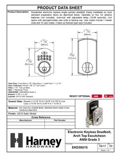 Product Data Specification Sheet Of A Electronic Keyless Deadbolt, Arch Top Escutcheon - Satin Nickel Finish - Product Number EKD30U15