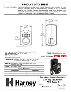 Product Data Specification Sheet Of A Electronic Keyless Deadbolt, Arch Top Escutcheon - Matte Black Finish - Product Number EKD30U19