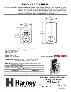 Product Data Specification Sheet Of A Electronic Keyless Deadbolt, Arch Top Escutcheon - Chrome Finish - Product Number EKD30U26