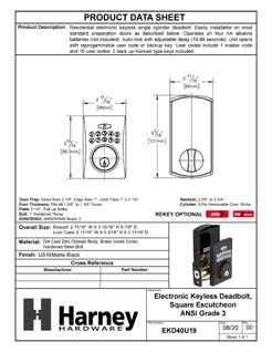Product Data Specification Sheet Of A Electronic Keyless Deadbolt, Square Escutcheon - Matte Black Finish - Product Number EKD40U19
