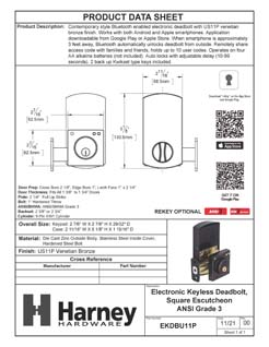 Product Data Specification Sheet Of A Bluetooth Electronic Keyless Deadbolt, Square Escutcheon - Venetian Bronze Finish - Product Number EKDBU11P